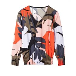 Sandwich Clothing Leaf Print Top With Pleats Multi-Colour