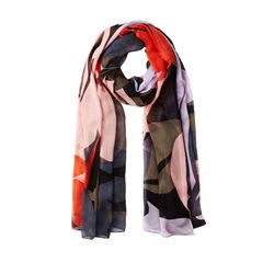 Sandwich Clothing Colorful Leaf Print Scarf Blush