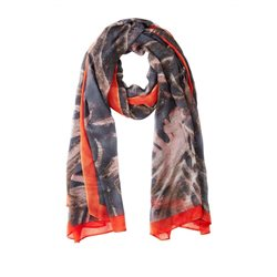 Sandwich Clothing Leaf Print Scarf Graphite