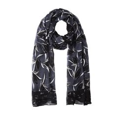 Sandwich Clothing Leaf Print Scarf Navy