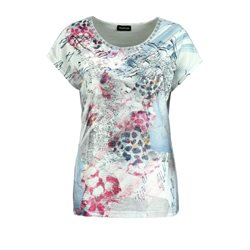 Taifun Floral Studded Top Silver