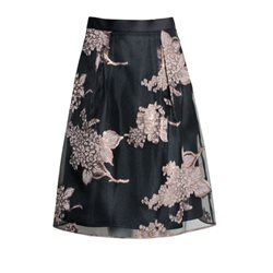 Fee G Floral Sheer Skirt Truffle