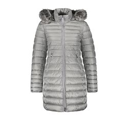 Gerry Weber Quilted Coat With Fur Trim Grey