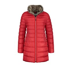 Gerry Weber Quilted Coat With Faux Fur Trim Red