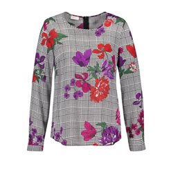 Gerry Weber Check Pattern Blouse With Flowers Black