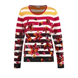 Gerry Weber Stripe And Floral Print Sweater Red