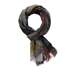 Taifun Leaf Print Scarf Dark Chocolate