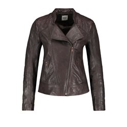 Taifun Biker Style Leather Jacket Dark Chocolate