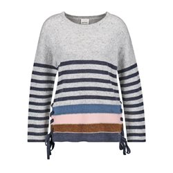 Taifun Striped Sweater With Lace Detail White
