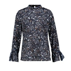Taifun Printed Blouse With Stand Up Collar Navy