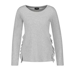 Taifun Long Sleeve Top With Ruffles Grey