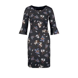 Taifun Floral Patterned Dress Navy