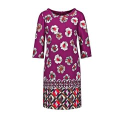 Taifun Floral Print Dress Elderberry