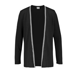 Taifun Open Jersey Cardigan With Strip Detail Black