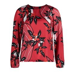 Betty & Co Floral Print Top Red