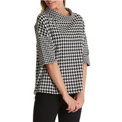 Betty Barclay Checked Cowl Neck Black