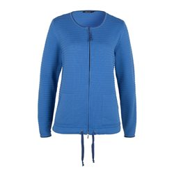 Olsen Ribbed Zip Cardigan Blue
