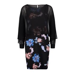 52df3ee4779a Vera Mont Floral Dress With Sheer Overlay Navy