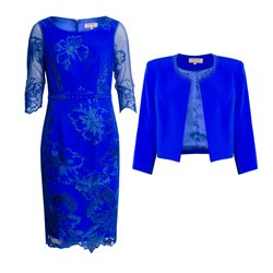 Cabotine Floral Lace Overlay Dress And Jacket Blue