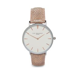 Elie Beaumont Oxford Large Face Snake Skin Strap Blush