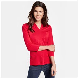 adf9cc3767 Gerry Weber 3 4 Sleeve Top With Decorative Pleats Red