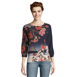 Betty & Co Floral Patterned Blouse Blue