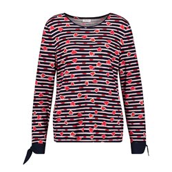 Gerry Weber Striped Loveheart Top Black