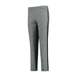 Taifun Check Trousers With Suede Detail Grey