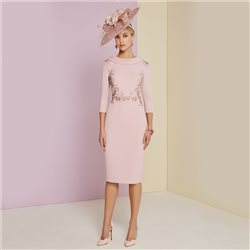 Ronald Joyce Invitations Cowl Neck Embroidered Dress Blush