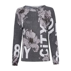 Monari Floral Printed Shimmer Top Grey