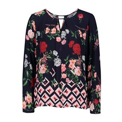 Betty & Co Floral Blouse With Keyhole Neckline Navy