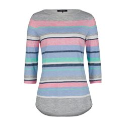 Olsen Colourful Striped Top Grey
