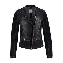 Taifun Washed Cotton Biker Jacket Black
