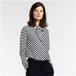 Sandwich Striped Top With Neck Tie Navy