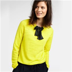 Sandwich Pullover With Neck Tie Yellow