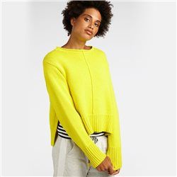 Sandwich Thick Knit Cropped Jumper Yellow