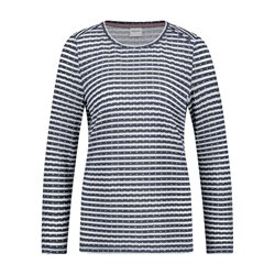 Taifun Long Sleeved Patterned Top Navy