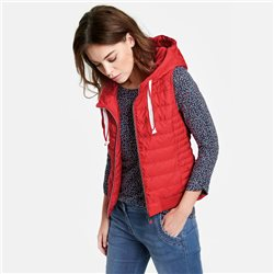 Taifun Quilted Gilet With A Hood Red