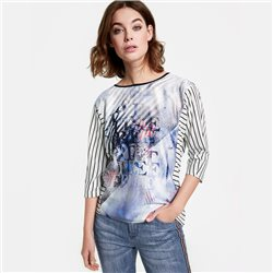 Taifun Printed Striped Top Blue
