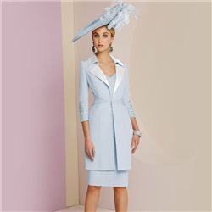 2476f389ad310 Ronald Joyce Veni Infantino Laced Dress With Long Length Jacket Blue