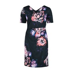 Vera Mont Floral Print Sheath Dress Navy