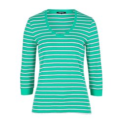 Olsen Striped Cotton Top Green