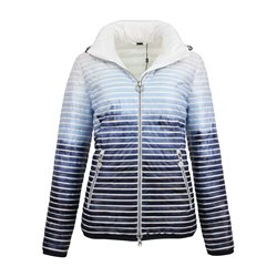 Lebek Striped Reversible Down Coat Blue