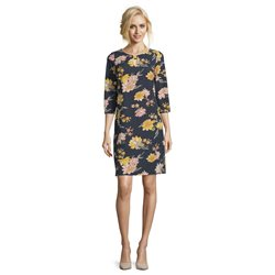 Betty Barclay Floral Dress With Bow Neckline Dark Blue