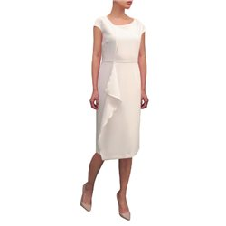 Fee G Fitted Dress With Layered Detail Cream