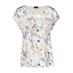 Taifun Satin Front Top With Floral Print Cream