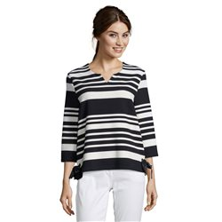 Betty Barclay Tie Detail Striped Top Dark Blue