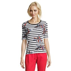 Betty Barclay Floral Striped Top Dark Blue