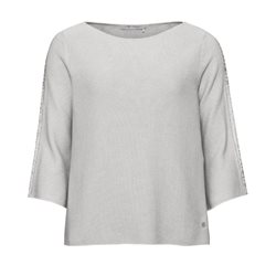 Monari Knitted Jumper With Slogan Sleeves Grey