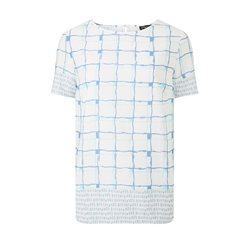 Emreco Sleeve Checked Top Blue